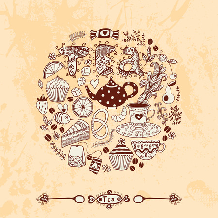 illustration of circle made of sweets. illustration