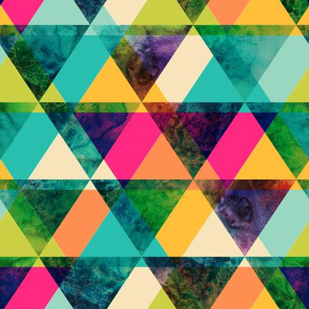 水彩の三角形のシームレスなパターン。モダンなヒップスター シームレス パターン。流行に敏感なスタイルでカラフルなテクスチャです。ジオメト