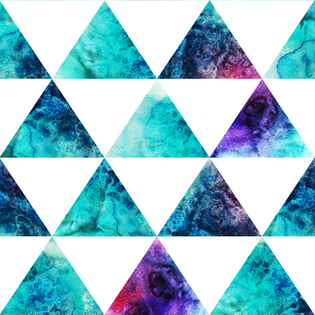 swag: Watercolor triangles seamless pattern. Modern hipster seamless pattern. Colorful texture in hipster style. Geometry template. Grunge pattern.Retro triangle background. Bright pattern.  Stock Photo