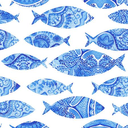 魚、水彩のシームレス パターンの手塗られた背景、水彩、魚、様式化された青魚とシームレスな背景。壁紙、水彩生地、装飾品を包むブルー