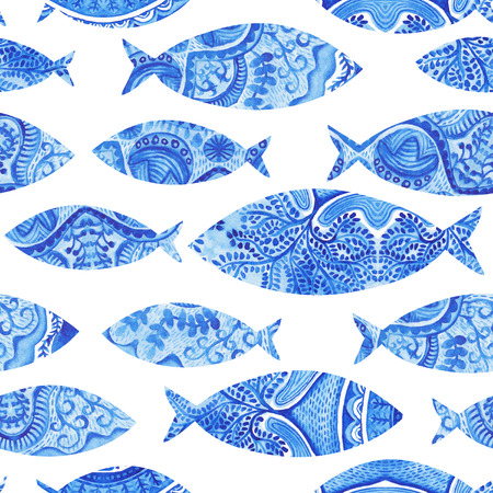 seamless pattern with fishes, watercolor hand painted background, watercolor fish, seamless background with stylized blue fish.Wallpaper, watercolor fabric, blue wrapping ornaments