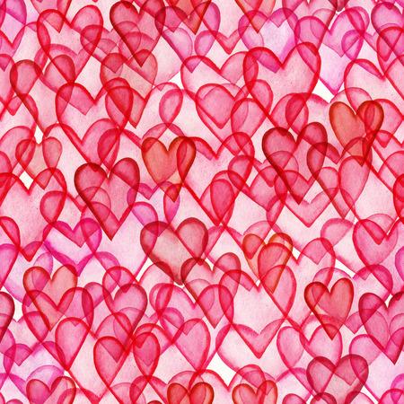 tilling: Hearts watercolor seamless pattern