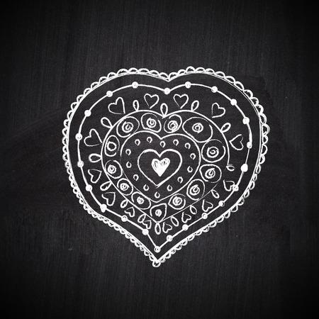 Heart shape chalk drawing on chalkboard blackboard Stock Photo - 27757036