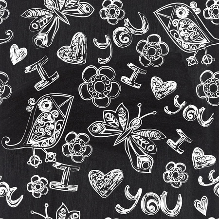 Chalkboard seamless valentine pattern.  photo
