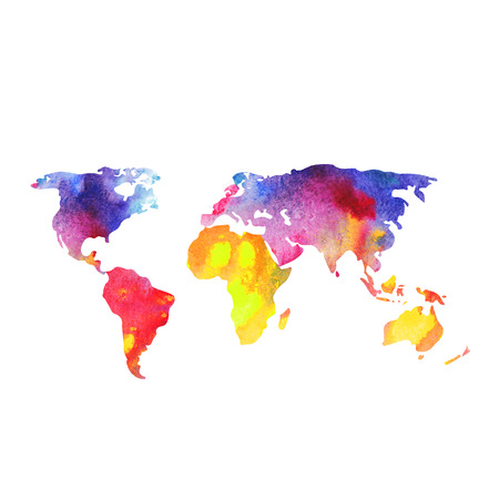 sea world: World vector map painted with watercolors, painted world map on white background. Stock Photo
