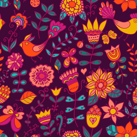 web background pattern: Seamless texture with flowers and birds. Endless floral pattern.Seamless pattern can be used for wallpaper, pattern fills, web page background,surface textures. Gorgeous seamless floral background