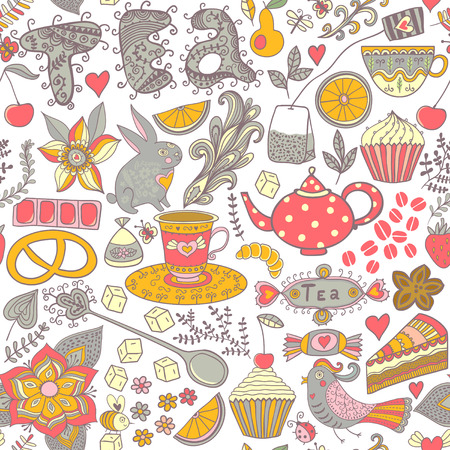Tea,sweets seamless doodle pattern. Copy that square to the side and youll get seamlessly tiling pattern which gives the resulting image the ability to be repeated or tiled without visible seams. photo