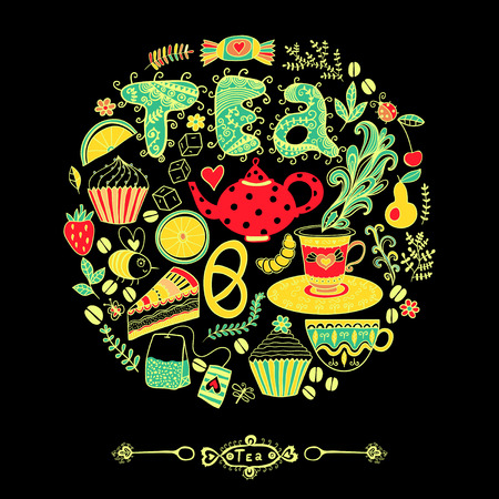 illustration of circle made of sweets. Round shape made of candy, sweets, tea lettering and tea things. Vintage background. Bright summer outlines made from tea things. Lets tea! illustration