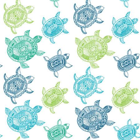 거북이와 원활한 패턴입니다. 원활한 패턴, 패턴 칠, 벽지 웹 페이지 배경, 표면 질감을 사용할 수 있습니다. 원활한 동물 배경 스톡 콘텐츠