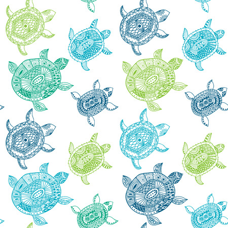 Seamless pattern with turtles. Seamless pattern can be used for wallpaper, pattern fills, web page background,surface textures. Seamless animal background Banco de Imagens - 27769203