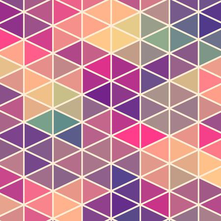 幾何学的図形の三角形パターン。カラフルなモザイクの背景。レトロな幾何学的な流行に敏感な背景、それの上にテキストを配置します。レトロな