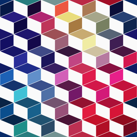 multilayer: Seamless geometric pattern with geometric shapes, rhombus, colorful zigzags, looks like stairs or multi-layer object. That square design has the ability to be repeated or tiled without visible seams. Stock Photo