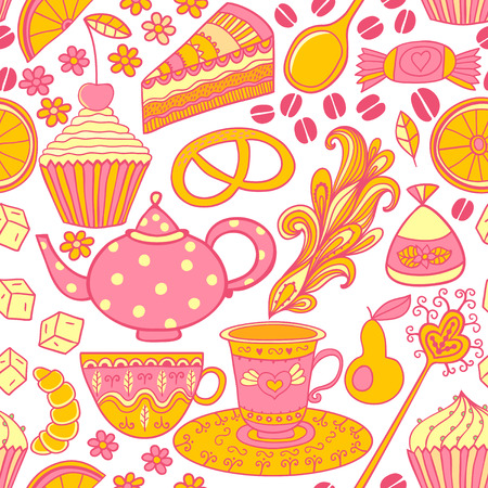 Tea  seamless doodle teatime backdrop.Cakes to celebrate any event or occasion, use it as pattern fills, web page background, surface textures, fabric or paper, backdrop design. Summer template. photo