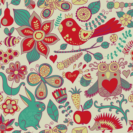 forest seamless pattern. Floral background.Owl, rabbit, butterfly, hedgehog. Use it as pattern fills, web page background, surface textures, fabric or paper, backdrop design. Summer template. photo