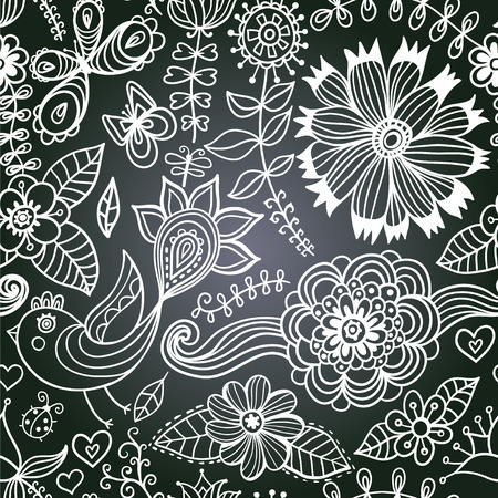 chalkboard seamless floral pattern. Copy that square to the side,youll get seamlessly tiling pattern which gives the resulting image the ability to be repeated or tiled without visible seams.