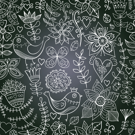chalkboard seamless floral pattern. Copy that square to the side,youll get seamlessly tiling pattern which gives the resulting image the ability to be repeated or tiled without visible seams. photo