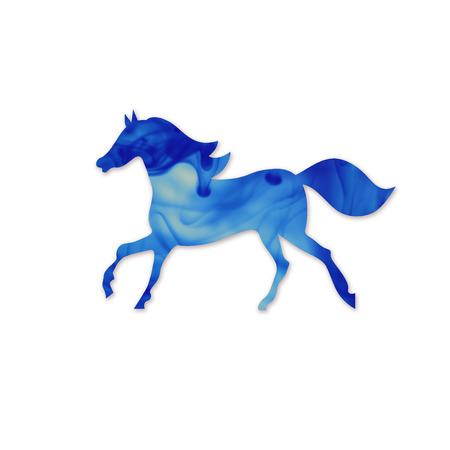 derby: Blue horse silhouette.  Running Horse Silhouette. Cloud of ink in water isolated on white Stock Photo