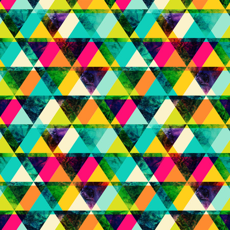 triangle pattern: Watercolor triangles seamless pattern. Modern hipster seamless pattern. Colorful texture in hipster style. Geometry template. Grunge pattern.Retro triangle background. Bright pattern.  Stock Photo