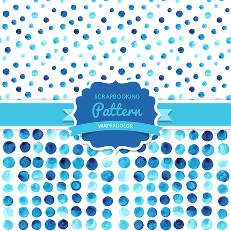 Vector watercolor circles seamless pattern (tiled). Retro paints ornament set. Round shapes pattern. Color cell. round shapes. Geometric painted ornament. Grunge colorful rounds shapes. Vector