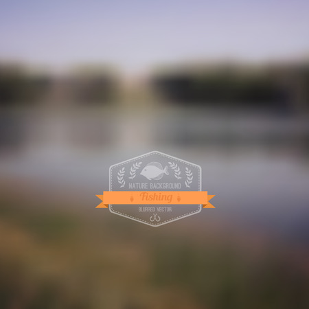 fishing village: Vector forest landscape with badge. Simple nature with hipster badge.Forest retro laurel wreath label design with fish and ribbon. Retro backdrop. Blur. Fishing. Fishing Label