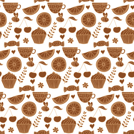 Tea seamless doodle teatime backdrop.Cakes to celebrate any event or occasion, use it as pattern fills, web page background, surface textures, fabric or paper, backdrop design. Summer template. Vector