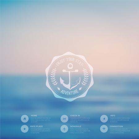 Vector ocean, blurred landscape, interface template. Corporate website design. Hipster web media backdrop. Ribbon badge label over sea background. Vector. Editable. Badge with anchor. Blurred. Ocean Illustration