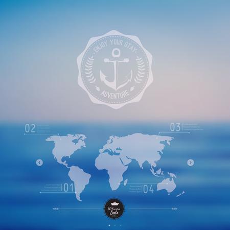 Vector ocean, blurred landscape, interface template. Corporate website design. Hipster web media backdrop. Ribbon badge label over sea background. Vector. Editable. Blurred. Unfocused. Ocean, map Vector