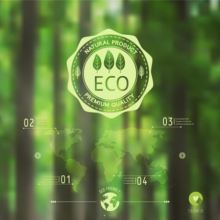 eco green: Vector blurred landscape, forest, eco badge, ecology label, nature view. Forest blur background, web and mobile interface template. Eco design.