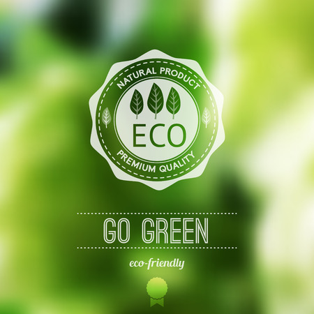 qualities: Vector blurred landscape, eco badge, ecology label, nature view.Green, organic product. Eco products, organic standard, or premium quality green product. Quote