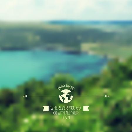 glob: Vector blure landscape with hipster badge. Lake view. Mountains. Retro label design. Retro backdrop. Blur. Bokeh. Maritime. Landscape. Travel design, glob, planet and ribbon