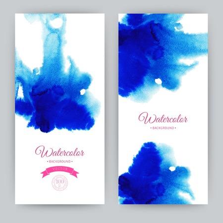 Vector watercolor, hand drawn banner, paints design template, colorful paint drops texture Stock Illustratie