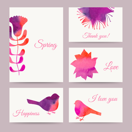 watercolor technique: Set of flowers card, watercolor technique. Vector cards design. Paints. Watercolor floral greeting card. Vintage retro background. Spring theme background. Birds. Invitations.