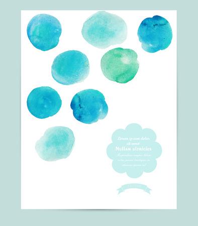 ベクトル水彩バナー、円でカード。抽象的な水彩画の背景。ベクトル イラスト。分離されました。  イラスト・ベクター素材