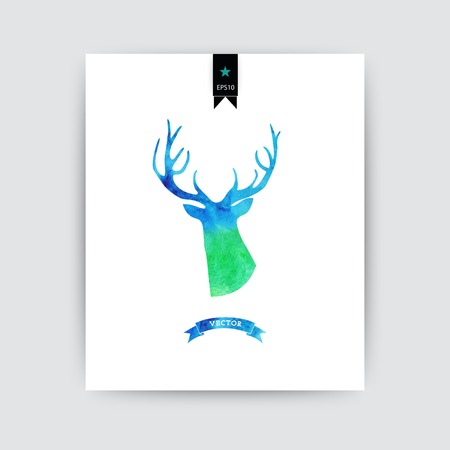 Watercolor-style vector deer silhouette isolated on white card Illustration