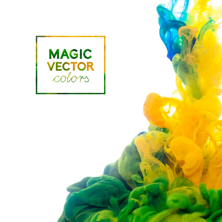 green chemistry: Vector Ink swirling in water, cloud of ink in water isolated on white. Abstract banner paints. Illustration