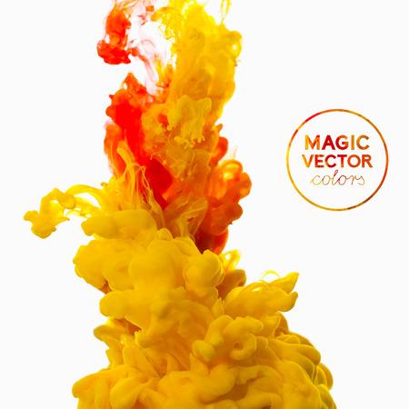 Vector abstract cloud. tourbillonnant d'encre dans l'eau, nuage d'encre dans l'eau isolé sur blanc. Peintures abstrait bannière. Holi. Banque d'images - 32712352