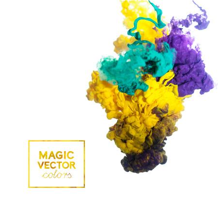 chemistry: vector de tinta remolino en el agua, nube de tinta en el agua aislado en blanco. Tinta colorida en bandera abstracta del agua Vectores