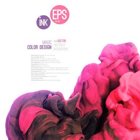 Vector abstract cloud. Ink swirling in water, cloud of ink in water isolated on white. Abstract banner paints. Holi. Pink cloud. Ice cream, vine, painting layout. Vector