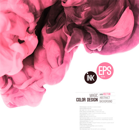 pink smoke: Vector abstract cloud. Ink swirling in water, cloud of ink in water isolated on white. Abstract banner paints. Holi. Pink cloud. Ice cream, vine, painting layout.