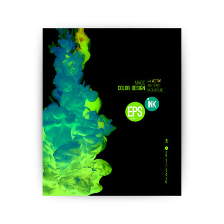 Vector abstract green fresh cloud. Ink swirling in water, cloud of ink in water isolated on white. Abstract banner paints. Holi. Mint, emerald.