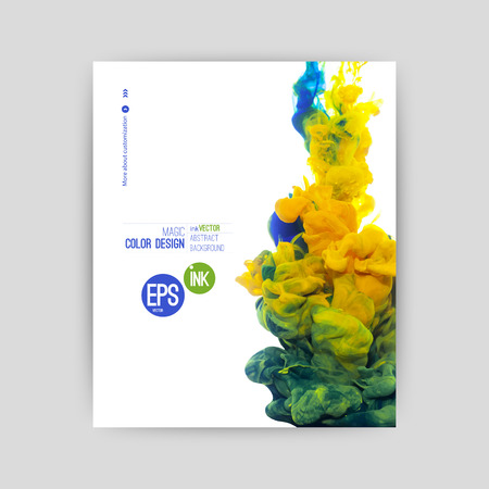 Vector vorticoso Inchiostro in acqua, nuvola di inchiostro in acqua isolato su bianco. Inchiostro colorato in acqua astratto banner Archivio Fotografico - 32711605