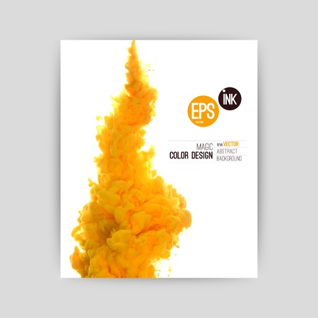 Vector abstract cloud. Ink swirling, cloud of ink isolated on white. Abstract banner paints. Holi. Orange juice. Holi. Juicy orange splash on white background.