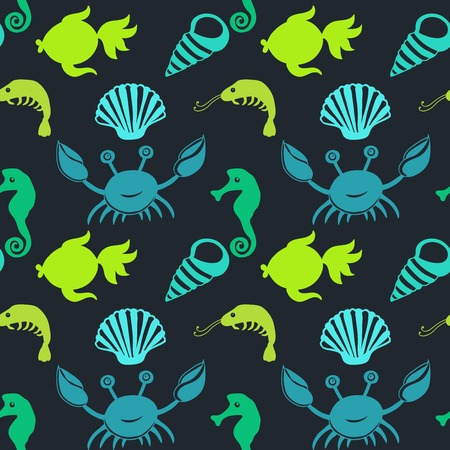 Cartoon set with sea live, vector set. Copy that square to the side and you'll get seamlessly tiling pattern which gives the resulting image the ability to be repeated or tiled without visible seams.