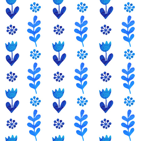 White and blue flower ornament greeting card .Vector gzhel. Vector watercolor texture with flowers complete. Floral design. Business card template Vector