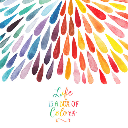 colours: Vector watercolor colorful abstract background. Collection of paint splash watercolor drops. Vector set of brush strokes. Isolated on white background. Lettering quote