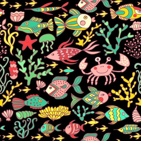 Cartoon set with sea live, vector set. Colorful sea animals, sea world seamless pattern, under water world wallpaper with fish, octopus and vegetation Vector