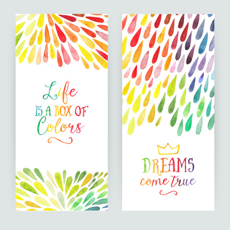 Vector watercolor colorful abstract background. Collection of paint splash watercolor drops. Vector set of brush strokes. Isolated on white background. Lettering quote