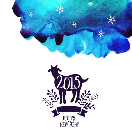 Vector goat. Watercolor background. Symbol of the 2015 year, greeting card with goat. Vector watercolor backdrop. Greeting card 2015. Happy New Year 2015. Vector