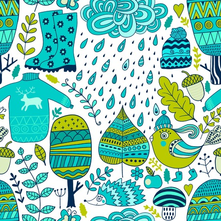 Vector seamless pattern, doodling autumn design. Hand draw trees and leafs over the city. Season of the rain, illustration, cute background. Color doodle background Vector