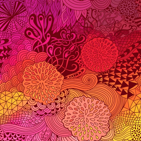 doodling: Vector doodling  background. Wave hand-drawn layout, waves background, tangled ornament, autumn colors
